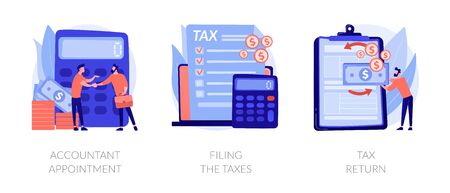 Financial documents and forms, paperwork. Accountant appointment, filing the taxes, tax return metaphors. Calculating obligatory payments. Vector isolated concept metaphor illustrations Illusztráció