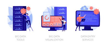 Big data metaphors icons set. Large amount of information storage, sharing, analysis and processing. Tools, visualization, data entry services. Vector isolated concept metaphor illustrations Illusztráció