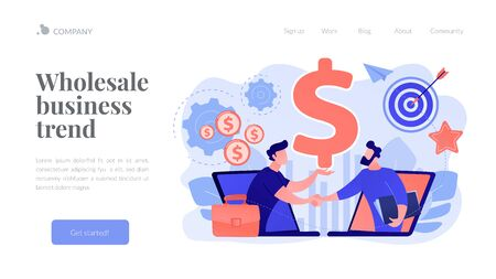 Business-to-business sales concept landing page. Vector Illustration