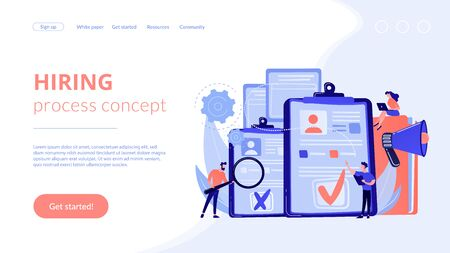 Hiring employee concept landing page.
