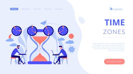 Time zones concept landing page.