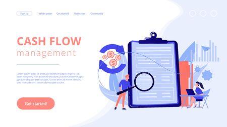 Cash flow statement concept landing page. Vektoros illusztráció