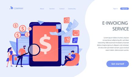 E-invoicing concept landing page. Vector Illustration
