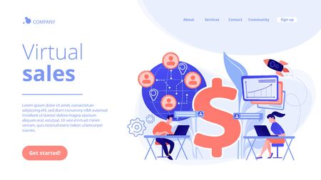 Virtual sales concept landing page.