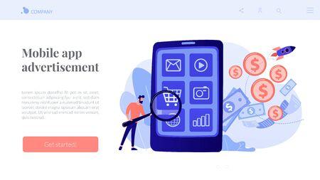 App monetization concept landing page.