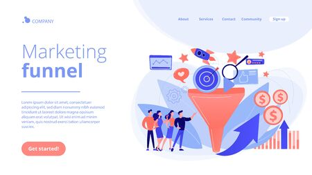 Marketing funnel concept landing page.