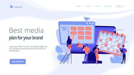 Media planning concept landing page. Ilustrace