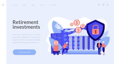 Retirement investments concept landing page. 向量圖像
