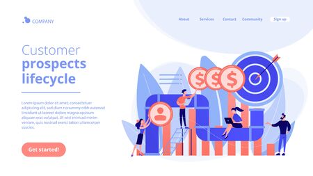 Sales pipeline management concept landing page.  イラスト・ベクター素材