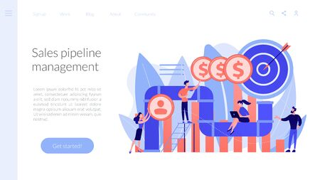 Sales pipeline management concept landing page. Stock Illustratie