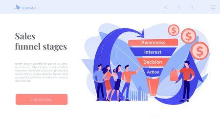 Sales funnel management concept landing page.