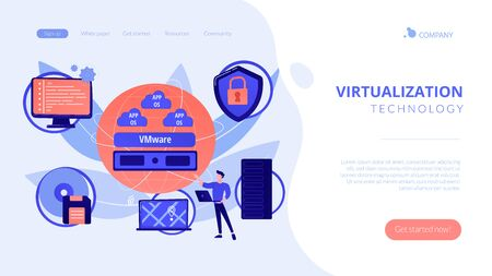 Virtual machines. Operating system and data storage. Virtualization technology, process virtual representation, reduce IT expenses concept. Website homepage landing web page template. Vettoriali