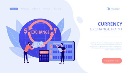 Currency exchange concept landing page