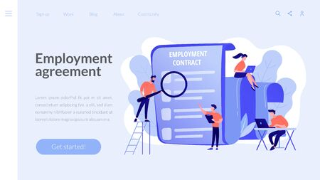 Employment agreement concept landing page Stock Illustratie