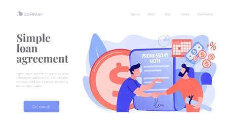 Promissory note concept landing page