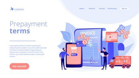 Prepayment terms concept landing page