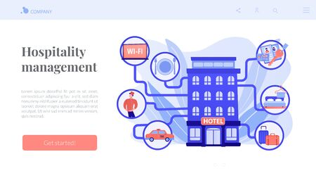 Hospitality management concept landing page