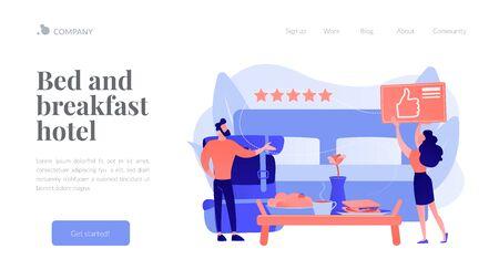Bed and breakfast concept landing page Ilustração
