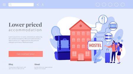 Hostel services concept landing page