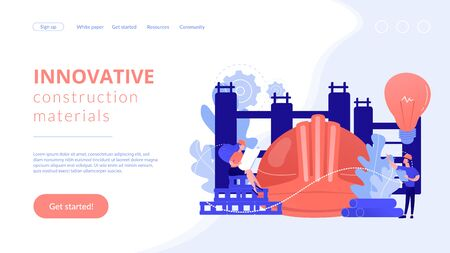 Innovative construction materials concept landing page. Иллюстрация
