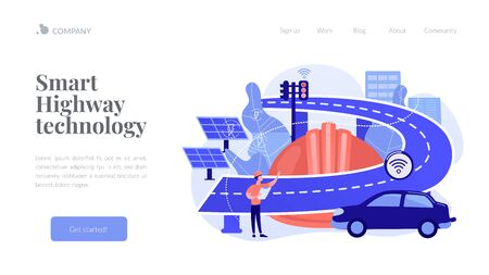 Smart roads construction concept landing page. Иллюстрация