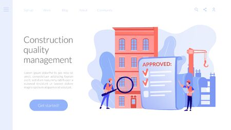 Construction quality control concept landing page
