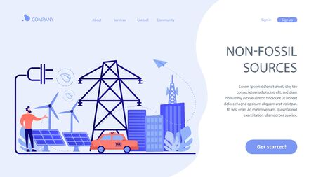 Alternative fuel concept landing page. Иллюстрация