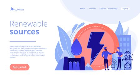Engineers working at hydropower dam producing falling water energy. Hydropower electricity, water power, renewable sources concept. Website vibrant violet landing web page template.
