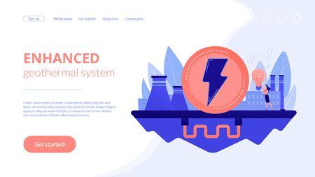 Geothermal energy concept landing page. Illusztráció