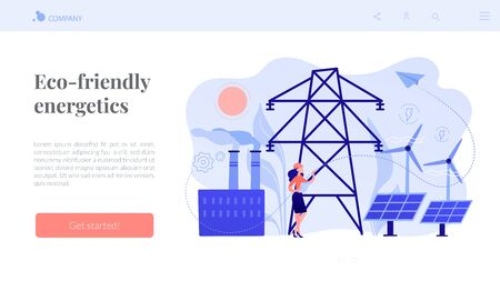 Alternative energy concept landing page. Иллюстрация