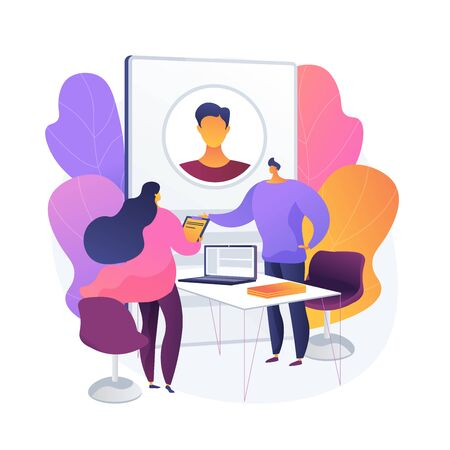 Job interview process. Hiring new employees. HR specialist cartoon character talking to new candidatee. Recruitment, employment, headhunting. Vector isolated concept metaphor illustration