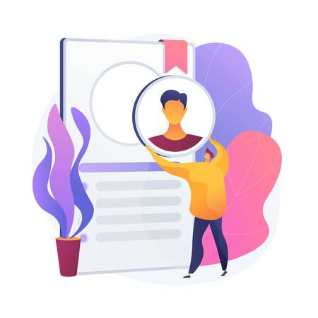 HR department responsibilities. Candidate employment, applicants recruitment, vacancy filling. Recruiter choosing suitable worker, personnel. Vector isolated concept metaphor illustration Vettoriali