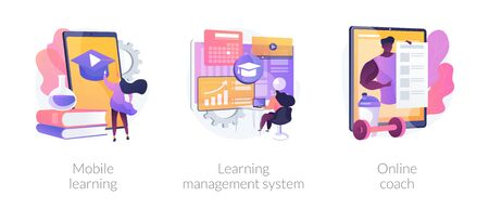 Learning management system abstract concept vector illustration set. Mobile learning application, online coach, software application, training course, tutor program classroom access abstract metaphor.