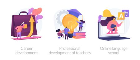 Successful career path abstract concept vector illustration set. Career development, professional development of teachers, online language school, job responsibility, conference abstract metaphor.