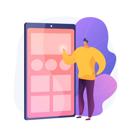 Application testing. UX designer, smartphone interface, portable electronics. Male cartoon character organizing apps on mobile phone screen. Vector isolated concept metaphor illustration