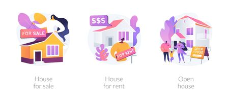 Real estate agent service abstract concept vector illustration set. House for sale and for rent, open house, best deal, booking, residential and commercial property, mortgage broker abstract metaphor.