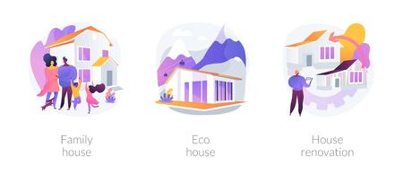 Private property and construction service abstract concept vector illustration set. Family home, eco house listing, single-family detached house renovation, environmentally friendly abstract metaphor.