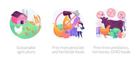 Sustainable organic agriculture abstract concept vector illustration set. Free from pesticide and herbicide, antibiotics hormones GMO food, farming process, ecology oriented growing abstract metaphor. Ilustracja
