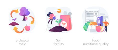Harvest and soil productivity abstract concept vector illustration set. Biological cycle, soil fertility, food nutritional quality, agricultural cycle, available nutrients value abstract metaphor.