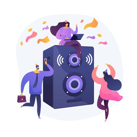 Corporate event. Party for employees and business partners. People dancing, drinking and having fun. Event management, entertainment, celebration. Vector isolated concept metaphor illustration