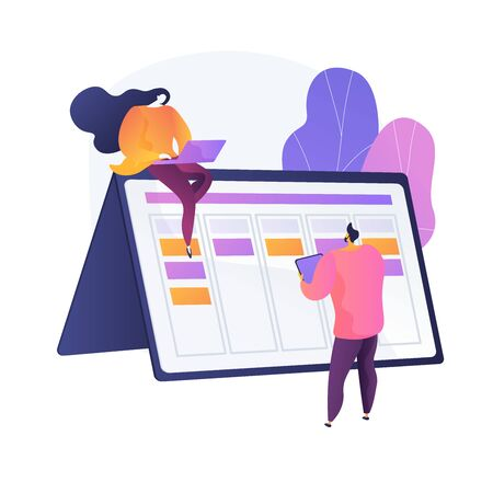 Scheduling. Forming and filling timetable. Digital calendar. Time management, arranging, controlling. Optimizing, effective plans organization. Vector isolated concept metaphor illustration