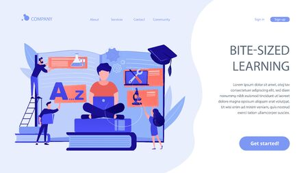 Student centered education, knowledge gaining, remote graduation. Bite-sized learning, learn at own pace, flexible learning process concept. Website homepage landing web page template.