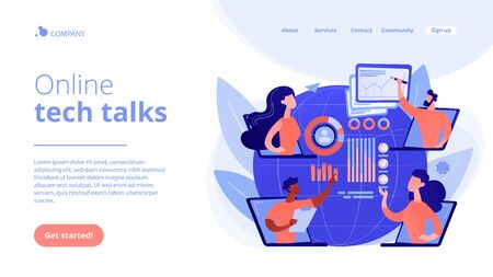Digital education, internet conference. Online tech talks, technical topics presentations, tech webinars, live technology demonstration concept. Website homepage landing web page template.