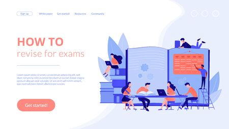 Preparing test together. Learning and studying with friends. Effective revision, revision timetables and planning, how to revise for exams concept. Website homepage landing web page template.