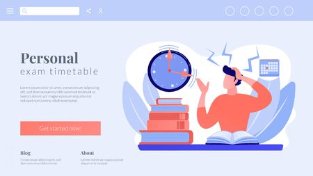 Terrible time crunch, cramming material before tests, examination. Exams and test results, personal exam timetable, exam stress and anxiety concept. Website homepage landing web page template.  イラスト・ベクター素材