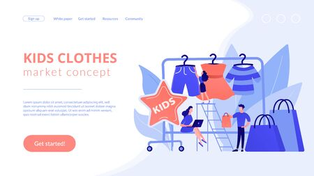 Showroom with kids clothes on hangers, designer and customers with shopping bags. Kids fashion, baby style showroom, kids clothes market concept. Website vibrant violet landing web page template.
