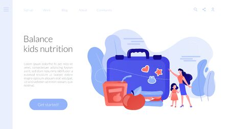 Businesswoman with child pointing to lunch box and sandwich with apple, tiny people. Kids lunch box, lunch box idea, balanced kids nutrition concept. Website homepage landing web page template.