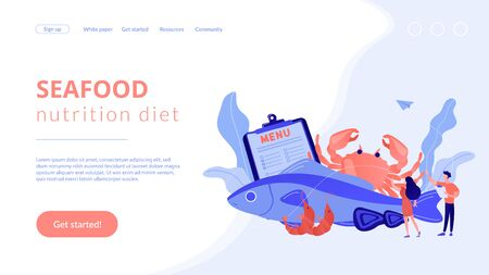 Tiny business people reading menu and sea food products, fish and crab. Seafood menu, seafood nutrition diet, marine products shop concept. Website homepage landing web page template.