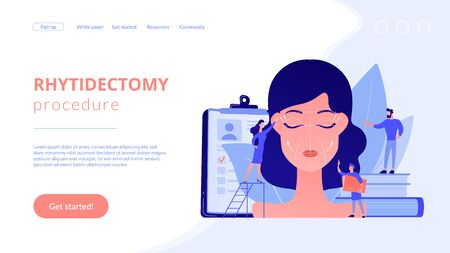 Plastic surgeons working on facelift surgery for woman face with wrinkles. Face lifting, rhytidectomy procedure, facelift surgery concept. Website vibrant violet landing web page template.