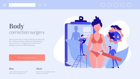 Plastic surgeons doing pencil marks and preparing body contouring of woman. Body contouring, body correction surgery, body plastic service concept. Website vibrant violet landing web page template.